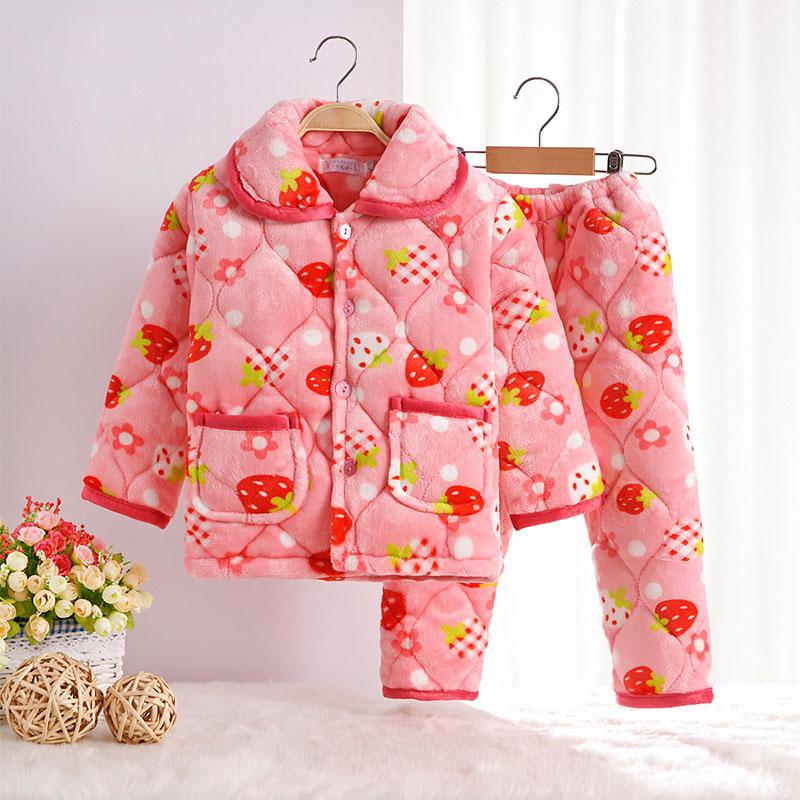 儿童法兰绒睡衣男女童家居服冬季小孩三层加厚夹棉保暖珊瑚绒套装