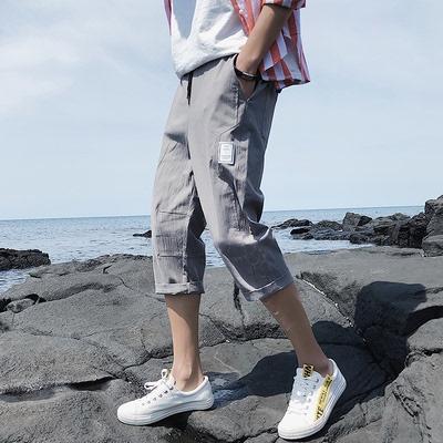 Cắt quần nam Hàn Quốc phiên bản của xu hướng tự trồng lỏng giản dị 7 điểm ống túm của nam giới junior học sinh trung học quần quần short mùa hè 3/4 Jeans