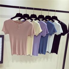 实拍9317#新款韩范学院风甜美减龄撞色珍珠扣小清新纯色针织T恤女