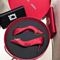 Свадебное Женская обувь 2019 новая коллекция Прекрасный каблук красный новый Свадебное платье на высоком каблуке Обувь шампанское горный хрусталь подружка невесты обувь дикая
