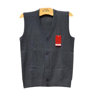 Mùa thu và mùa đông nam len vest trung và cũ tuổi đan áo len nam màu rắn vest cha nạp vest vest