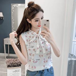 实拍立领印花衬衣女宽松显瘦夏季韩版系带无袖雪纺衫背心上衣