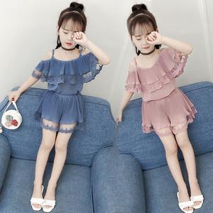 Cô gái mùa hè ăn mặc 2018 mới phù hợp với thời trang cô bé quần short Hàn Quốc thời trang triều trẻ em trẻ em mùa hè quần áo trẻ em