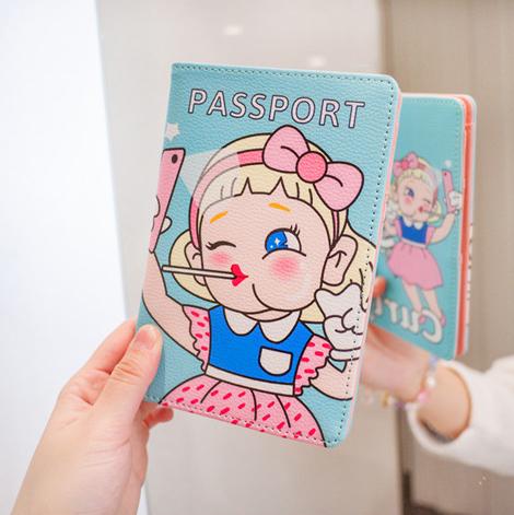 Hộ chiếu vé lưu trữ túi hộ chiếu clip dễ thương phim hoạt hình ngắn Hàn Quốc phiên bản của đa chức năng túi tài liệu chống thấm bảo vệ bìa