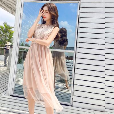 3385#实拍+视频2018新款温柔超仙女收腰显瘦冷淡风网纱连衣裙