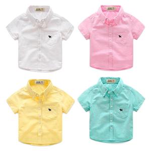 2018 new boy cotton ngắn tay áo 2016 mùa hè mùa xuân và mùa thu mới Hàn Quốc áo sơ mi xu hướng thời trang