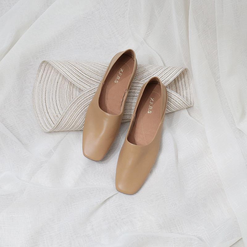 CAILIN自制2019款春夏韩版方头超软皮平底踩跟两穿光面休闲单鞋女