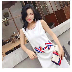 2018夏装新款拼接无袖修身连衣裙时尚个性白色直筒背心裙女