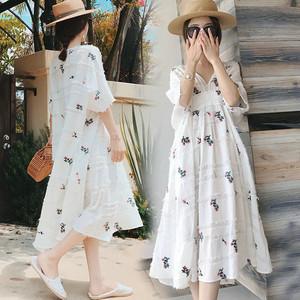 Phụ nữ mang thai mùa hè 2018 mới dài ngắn tay cotton và linen thai sản dress hai mảnh thời trang loose váy