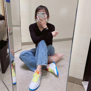 2020 small fragrance candy color shoes women's early spring new color matching laces casual thick-soled fluorescent colorful white shoes