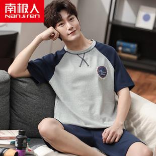 男士睡衣純棉短袖短褲學生夏天薄款套裝