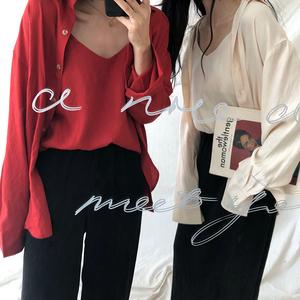 Hàn Quốc phiên bản của mùa thu chic đa năng lỏng dài tay màu rắn đơn ngực áo sơ mi + bên trong phù hợp với sling