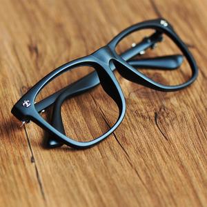 Mới của Hàn Quốc phiên bản của kính khung không có ống kính thủy triều nam giới và phụ nữ retro kính khung mắt gương phẳng kính khung màu đen