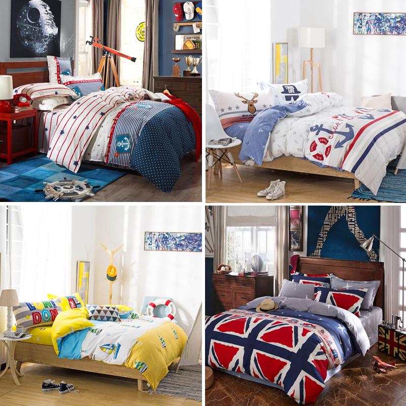 Tinh khiết bông bốn mảnh phong cách Châu Âu và Mỹ Người Anh phong cách Địa Trung Hải trẻ em của bộ đồ giường phòng quilt cover sheet bìa