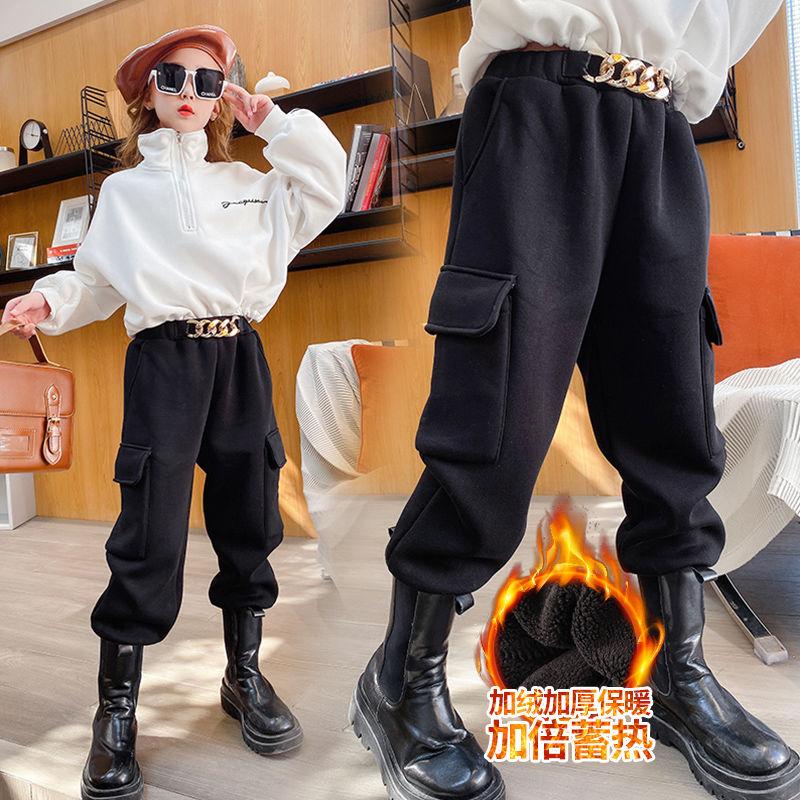 秋冬季女童运动裤一体加绒加厚ξ 儿童卫裤大童韩版女孩外穿工装裤
