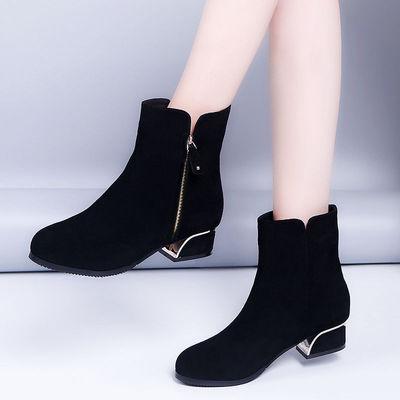 秋冬2019新款短靴女软底百搭低粗跟加绒磨砂皮裸靴韩版靴子女潮