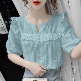 女士夏季娃娃领短袖泡泡袖T恤仙女风上衣服
