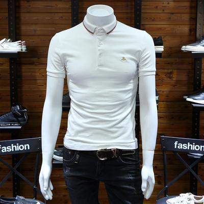 Trạm châu âu nam polo shirt slim ve áo thanh niên làm bóng bông bee thêu kích thước lớn stretch ngắn tay nửa-shirt t shirt polo Polo