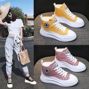 女學生韓版板鞋高幫帆布鞋運動小白鞋女鞋
