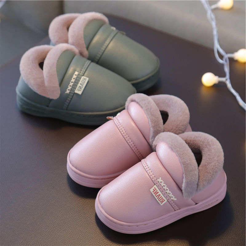 儿童棉拖鞋秋冬季男女童小孩□ 室内皮质防水保暖卡通小宝宝包跟棉鞋