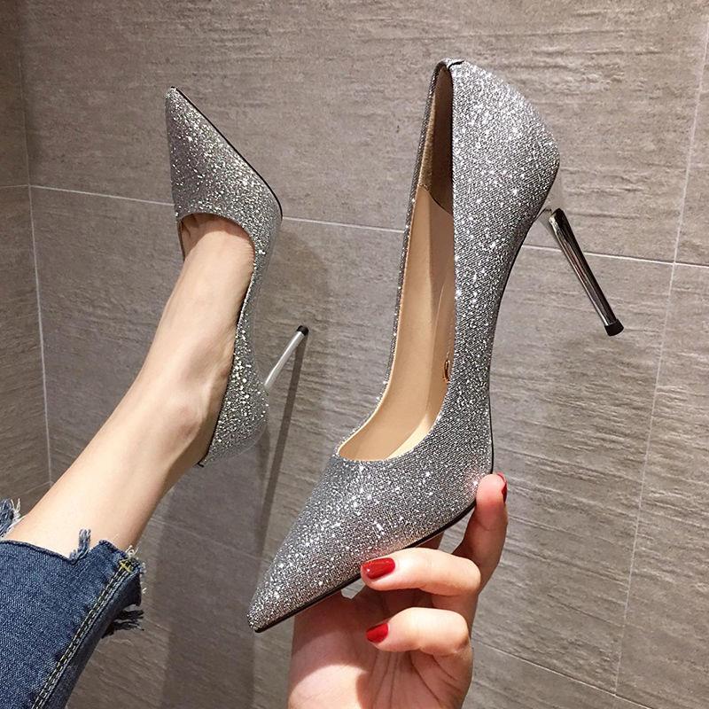 新款浅口高跟鞋气质性感细跟黑色职业单鞋
