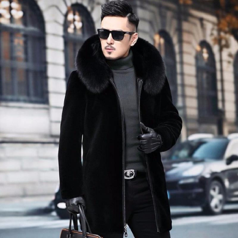 海宁貂皮大衣男皮毛一体冬季加绒加厚貂绒中长款貂毛仿皮草外套