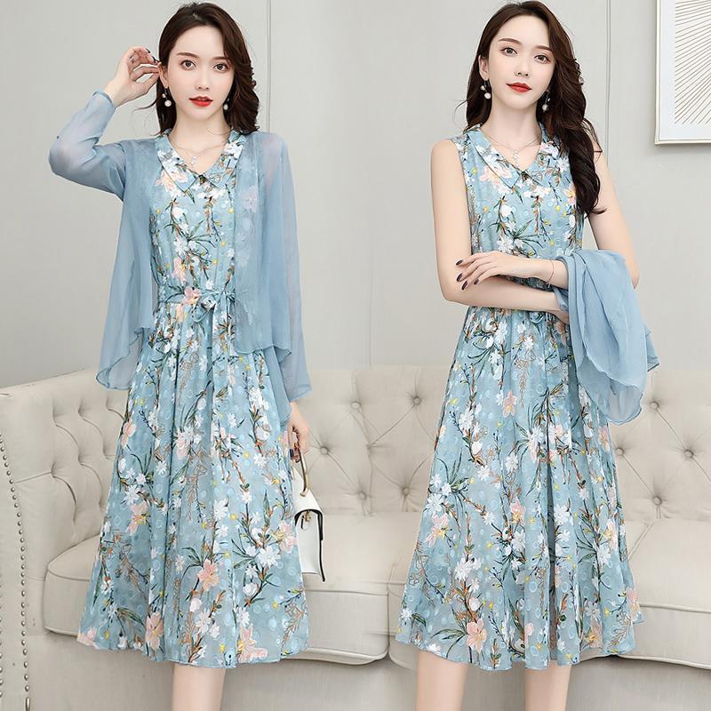 【兩件套】雪紡連衣裙女遮肚韓版夏季女裝2020新款潮長裙套裝裙子