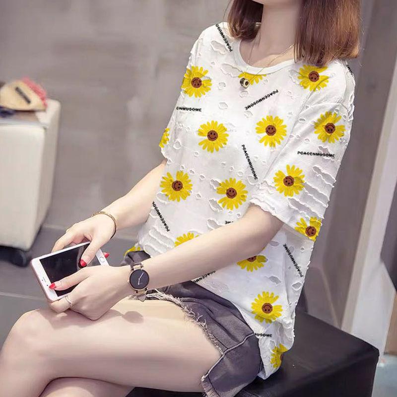 夏大码女装小雏菊短袖t恤女夏季