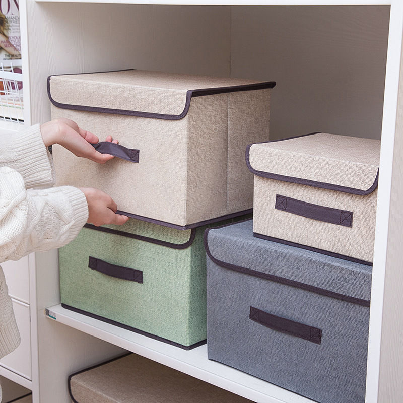 带盖防尘布艺折叠收纳箱杂物储物箱