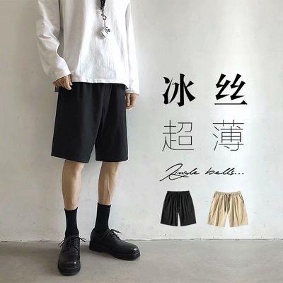 黑色西装短裤男ins潮牌爆款夏季休闲运动五分裤冰丝速干裤子宽松