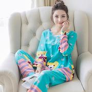 Đồ ngủ phụ nữ dài- tay mùa hè bông lụa phù hợp với phần mỏng mùa xuân và mùa thu Hàn Quốc phiên bản của bộ thường của kích thước lớn bông nhân tạo dịch vụ nhà
