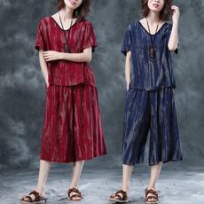 8109实拍时尚套装女夏新款大码宽松气质阔腿裤休闲棉麻上衣两件套
