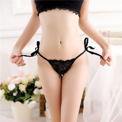 taobao agent Large size sexy transparent men's pseudo-girl underwear men's cd cross dress lace lace tie women's gangster thong