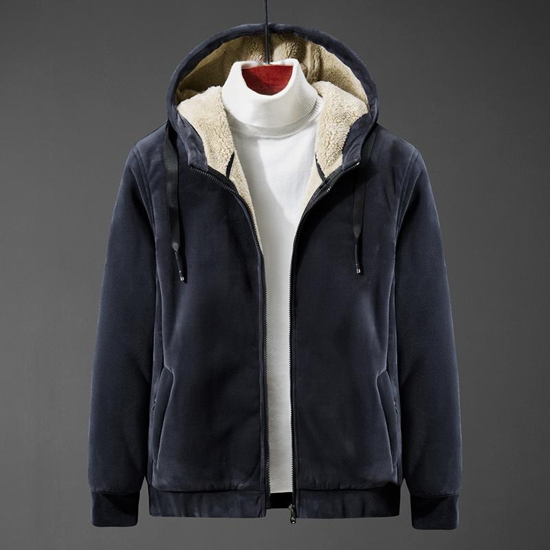 男士加绒加厚连帽卫衣纯色开衫保暖外套棉袄