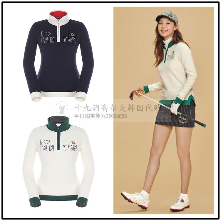 Hàn quốc mua FANTO * golf 2017 mùa thu ladies vòng cổ đan thêu dài tay áo len thể thao áo len