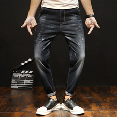 哈伦牛仔裤 男小脚弹力宽松2018韩版男士时尚青年 百搭大码长裤男