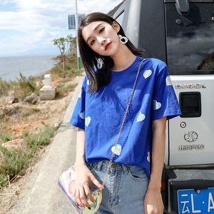 2018新款ins半袖t恤蓝色怪味少女上衣chic宽松爱心女装夏款短袖