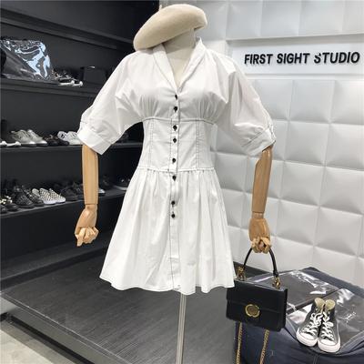 Hẹn gặp lại! 2018 mùa hè mới màu rắn đơn ngực eo là tính khí mỏng thanh lịch đơn giản Một từ ăn mặc Sản phẩm HOT
