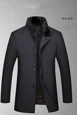 男装冬季中老年毛呢大衣男中长款立领可脱卸内胆毛呢外套爸爸装01