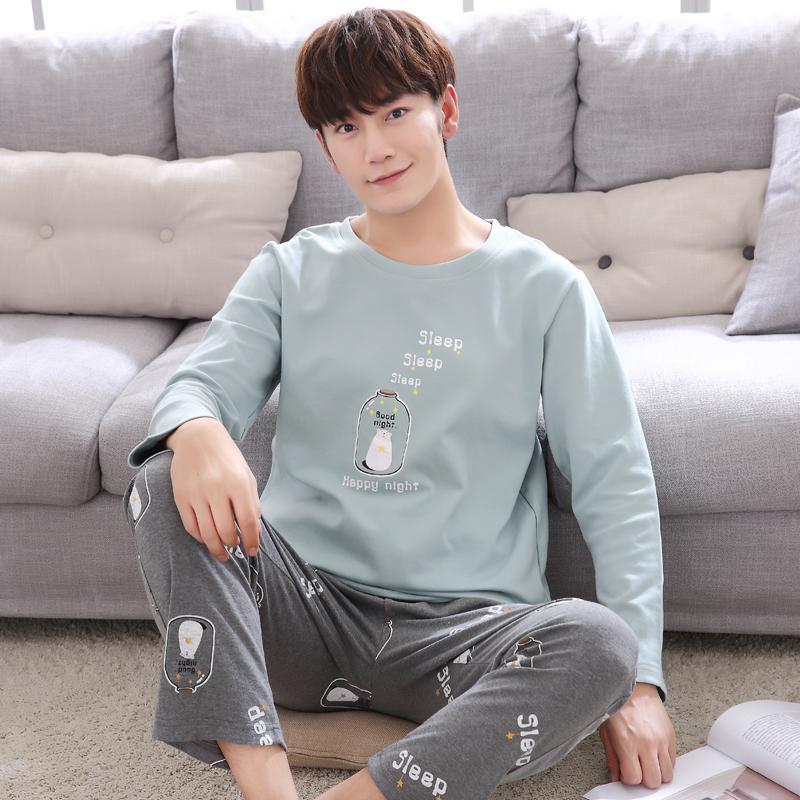 Đồ ngủ nam cotton dài tay mùa xuân và mùa thu mẫu nam phù hợp với mùa thu Hàn Quốc đơn giản thời trang nam hoạt hình dịch vụ gia đình - Cặp đôi