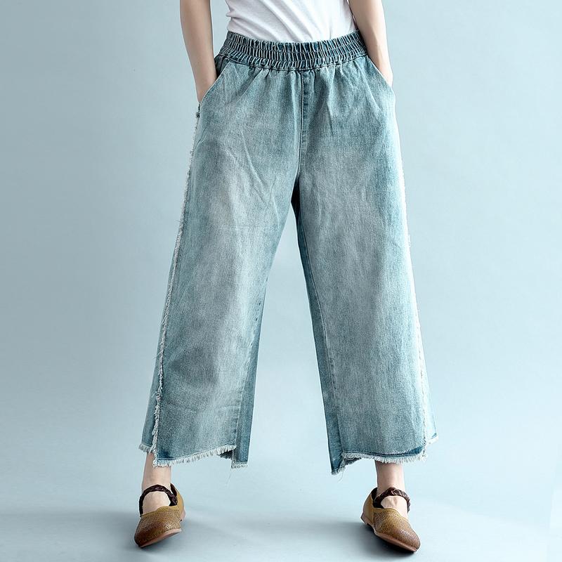 [清 濯] Staggered hem hem, đàn hồi eo, rửa mực, chân chất béo màu trắng, quần jean, quần chân rộng