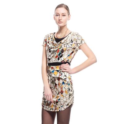 JUZUI 玖 姿 2017 nữ mùa hè Châu Âu và Mỹ in ấn Slim là mỏng vòng cổ không thường xuyên ăn mặc
