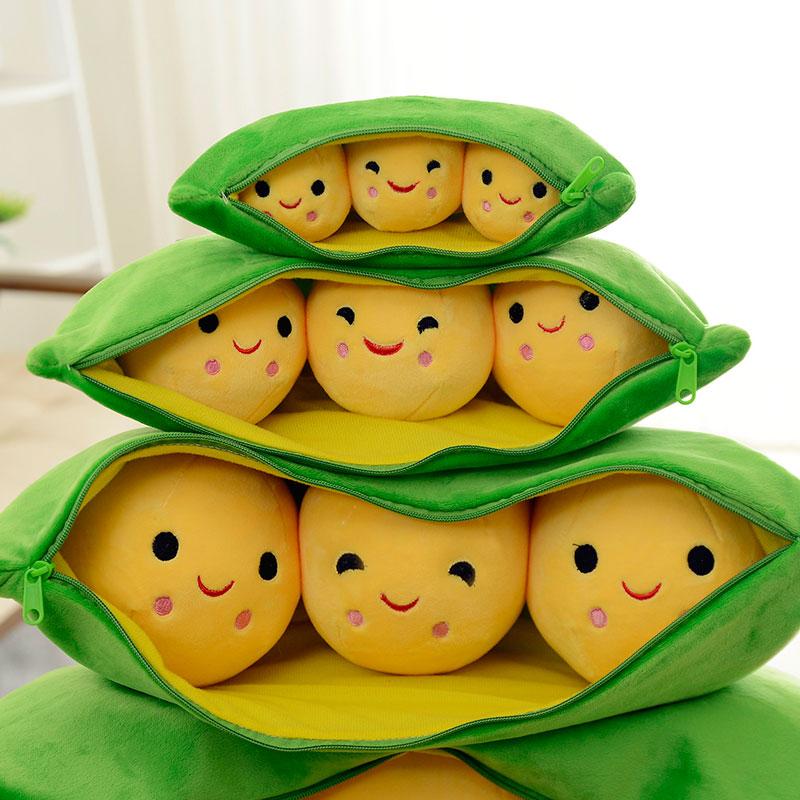 卡通豌豆荚玩偶公仔靠枕娃娃豌豆抱枕韩国搞怪抱枕超萌儿童礼物女23.5包邮