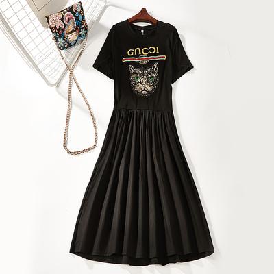 B8 mùa hè mới ngắn tay t-shirt váy Mỏng dài in ăn mặc giản dị 8189 váy đầm