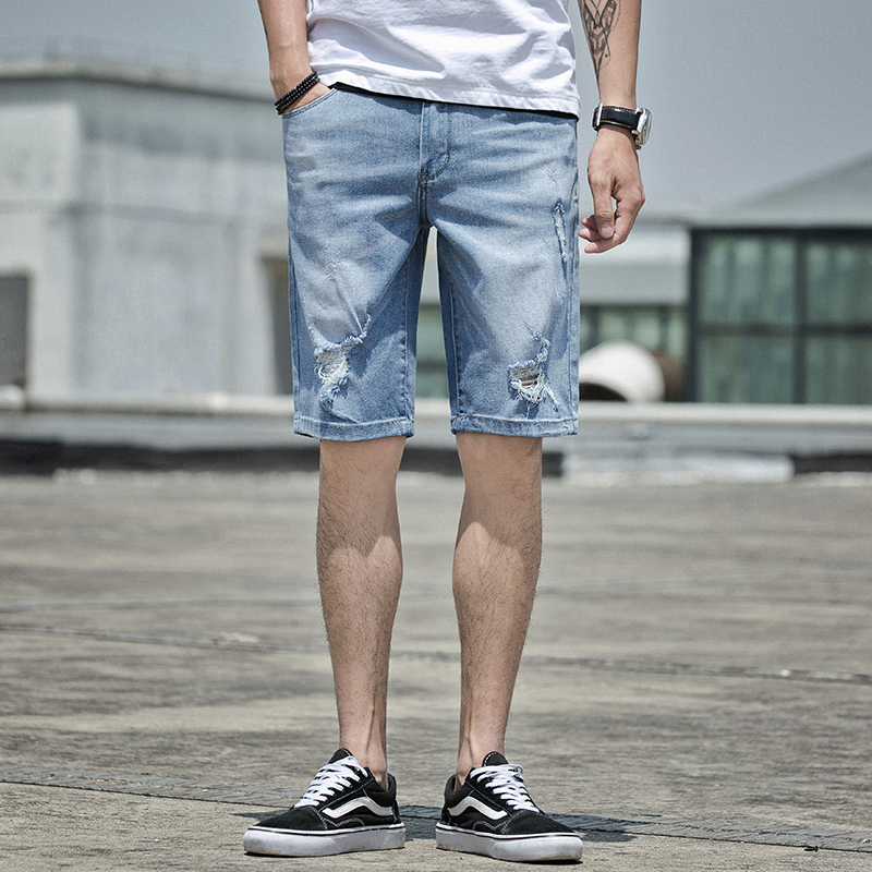 牛仔裤男浅蓝色韩版五分裤潮流破洞-优惠后30元包邮