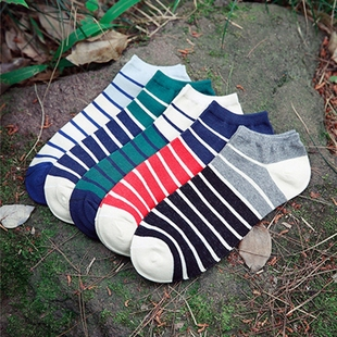 【五双装】男士薄款防臭四季纯棉船袜子