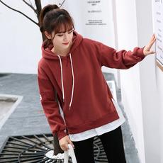 实拍新款女装韩版宽松袖子破洞假两件连帽卫衣加厚1193