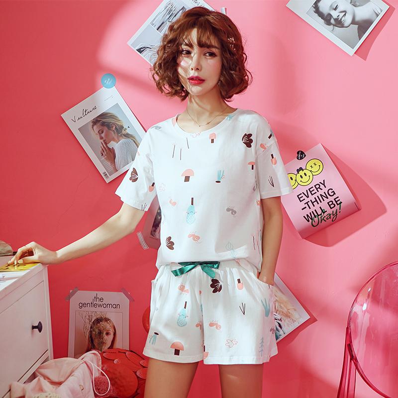 Bộ đồ ngủ mùa hè của phụ nữ phù hợp với ngắn tay hai mảnh mùa hè Hàn Quốc phiên bản của bông lỏng sinh viên tươi có thể mặc quần áo nhà mỏng