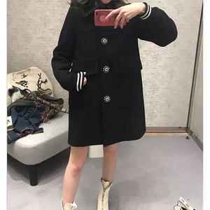 [Tiền gửi] 2018 mùa thu mới của phụ nữ Hàn Quốc phiên bản của màu đen mỏng chic retro dài áo len