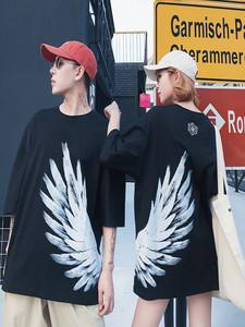 欧美潮牌凤凰翅膀短袖T恤男女情侣装BF宽松嘻哈半袖ins超火的上衣